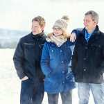 familie, winter, draussen, schnee